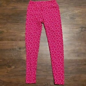 LulaRoe Red Printed Leggings One Size